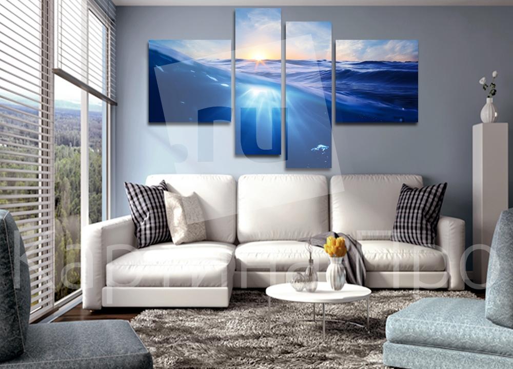 Модульная картина Закат в волнах от Kartina-Pro