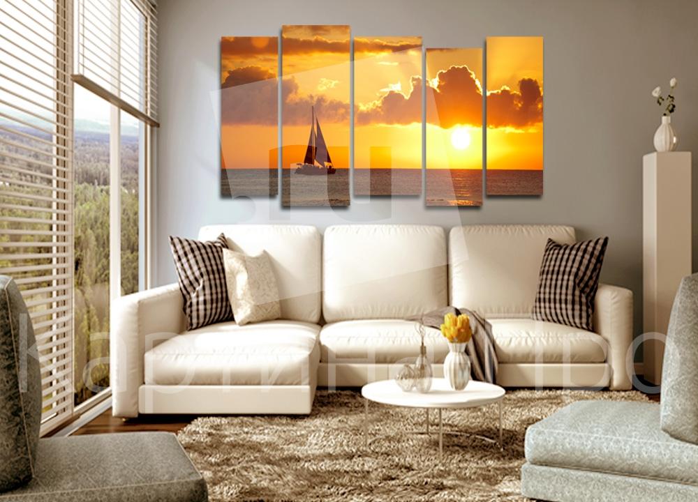 Модульная картина Парусник в закате от Kartina-Pro