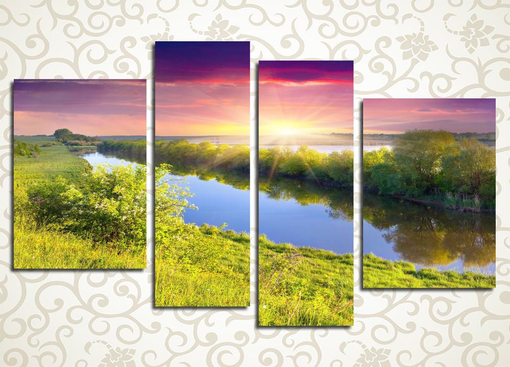 Модульная картина Закат над рекой