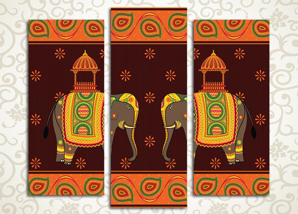 Модульная картина Индийские слоны