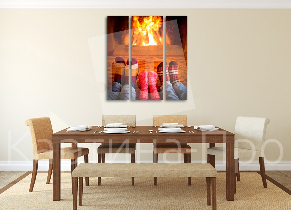 Модульная картина Вечер у камина от Kartina-Pro
