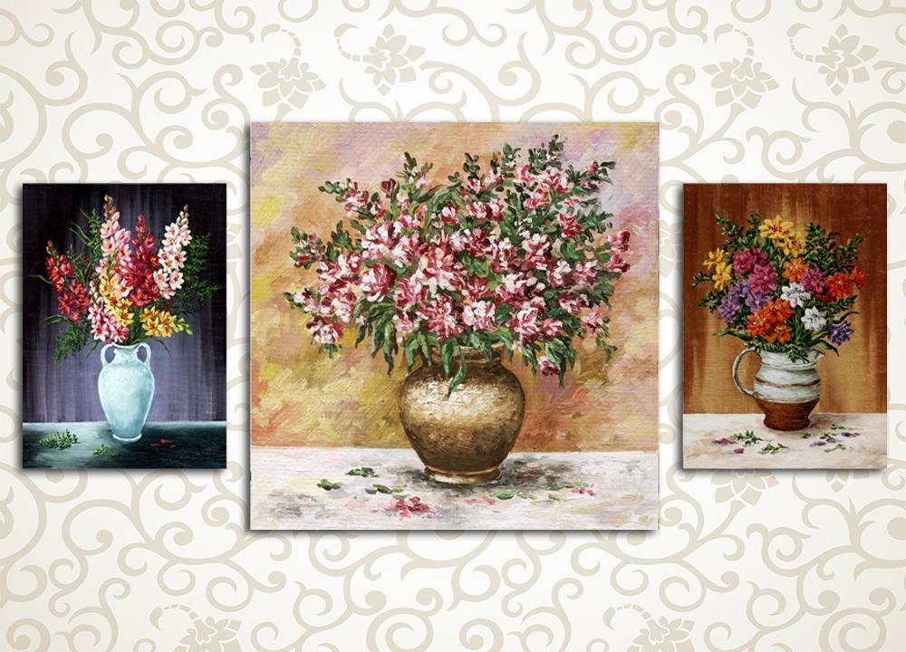 Модульная картина Вазы с цветами