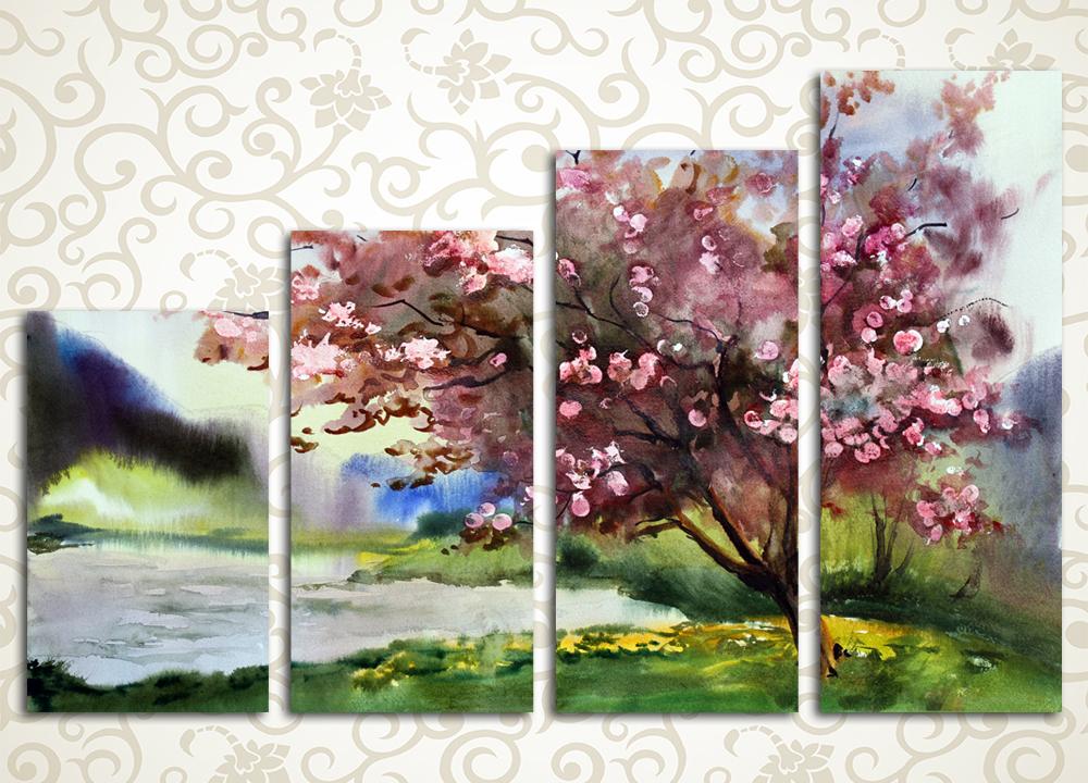 Модульная картина Сакура на берегу озера
