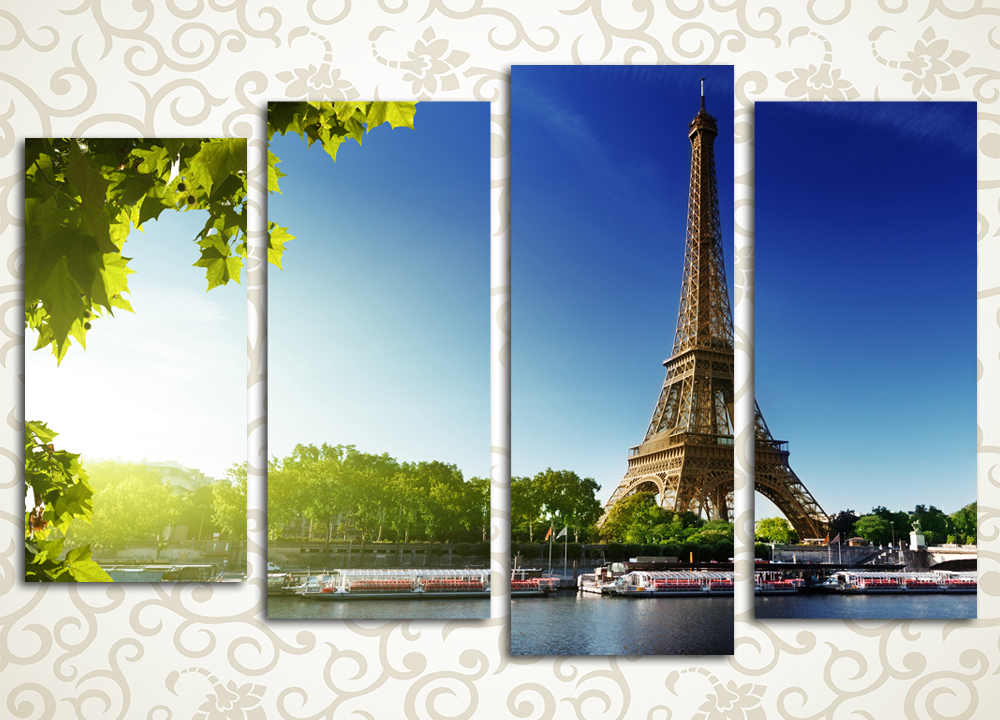 Модульная картина Солнце над Парижем (Франция)