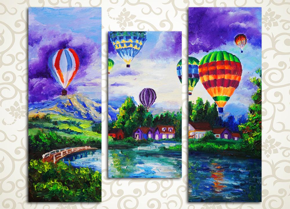 Модульная картина Воздушные шары над рекой