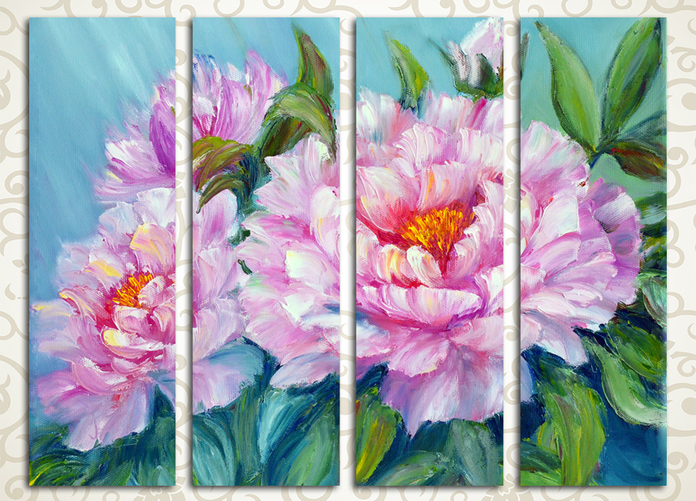 Модульная картина Букет розовых пионов