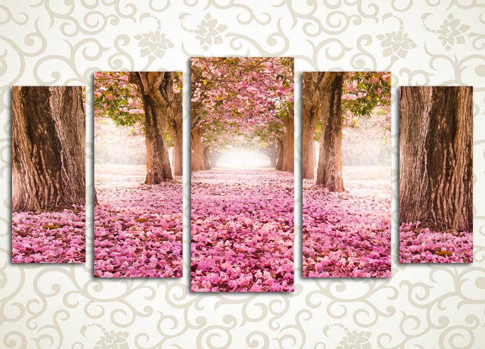 Модульная картина Дорога из розовых лепестков