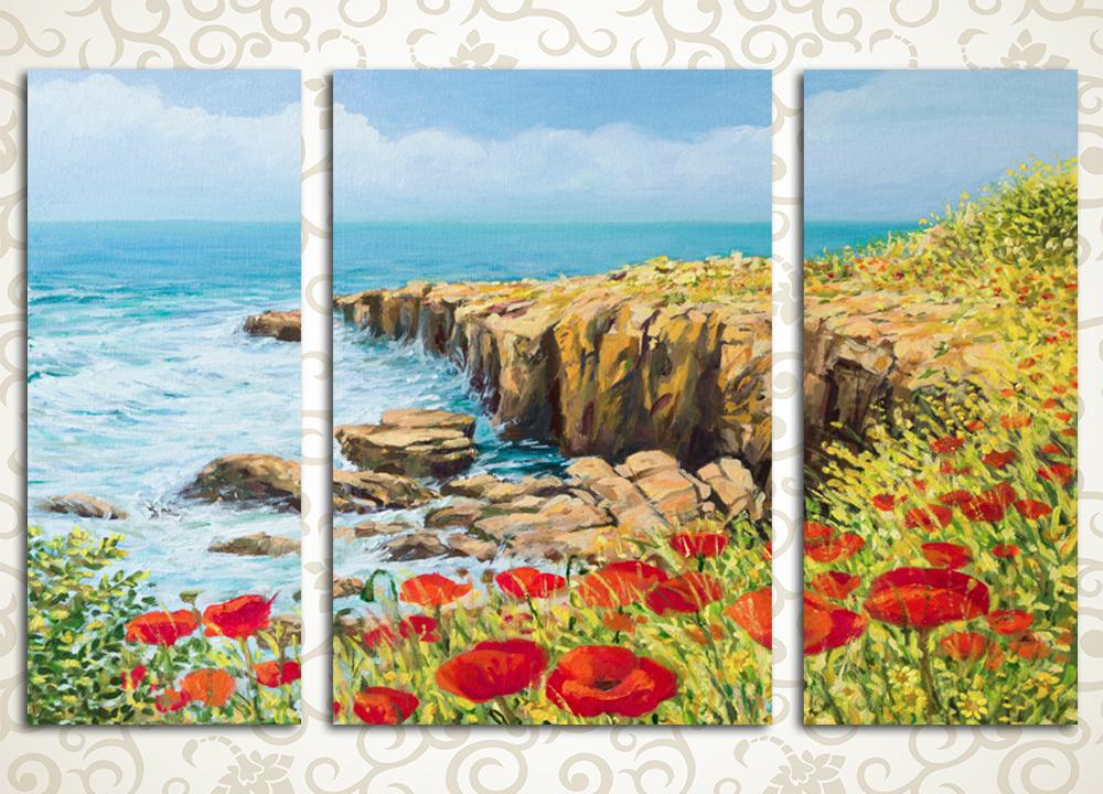 Модульная картина Маки на берегу моря