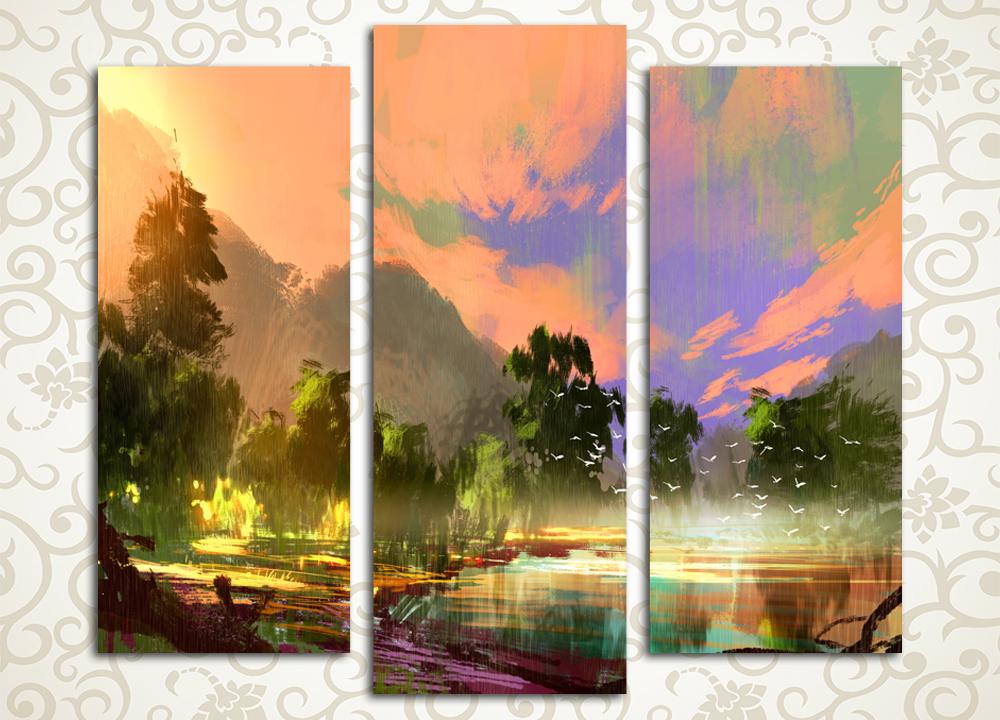Модульная картина Утренний пейзаж