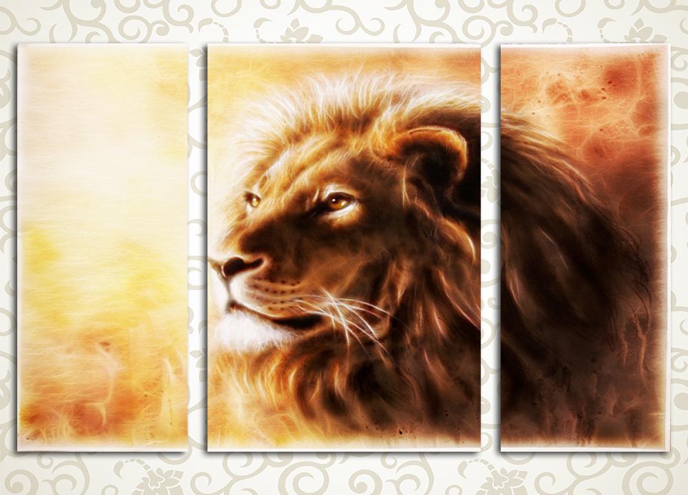 Модульная картина Царь зверейКрасочная и удивительно уютная модульная картина «Царь зверей» – грамотное решение для декора любого интерьера. Такая картина с изображением самого настоящего царя зверей, гордого и величественного льва, подойдет и для гостиной, и для спальни, станет хорошим украшением офиса, холла или прихожей. Мягкие и теплые оттенки подарят любой комнате вашего дома исключительный уют, а оригинальный рисунок расскажет о вкусе владельца. Картина разделена на 3 блока вертикального расположения, при этом центральный модуль имеет значительную ширину, что придает изображению объем.<br>