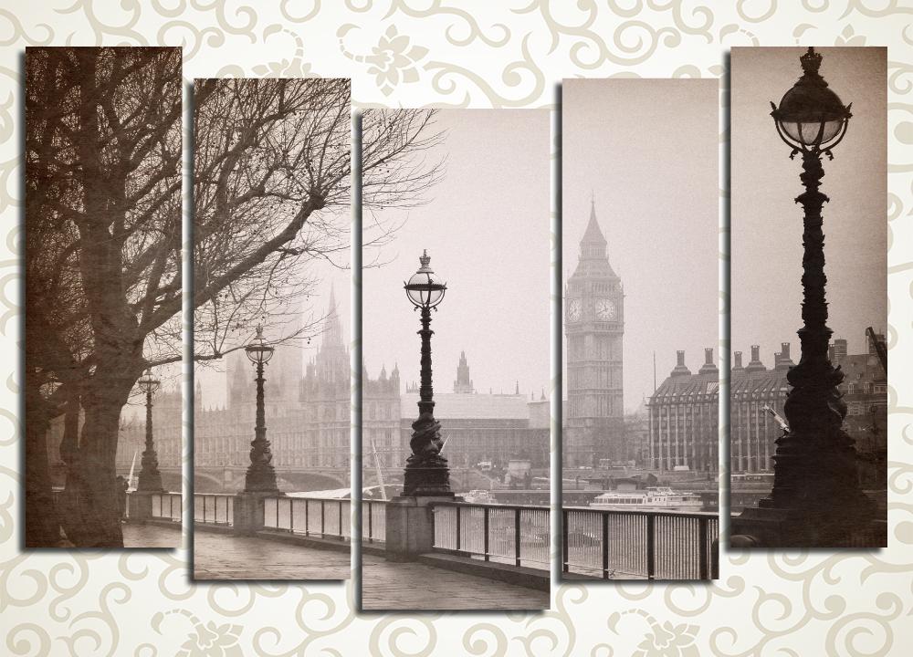 Модульная картина Лондон в тумане (Англия)