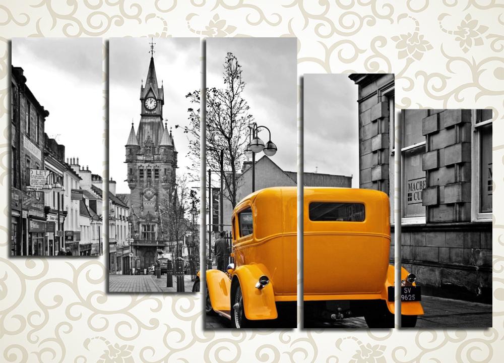 Модульная картина Ретро-автомобиль на улице города