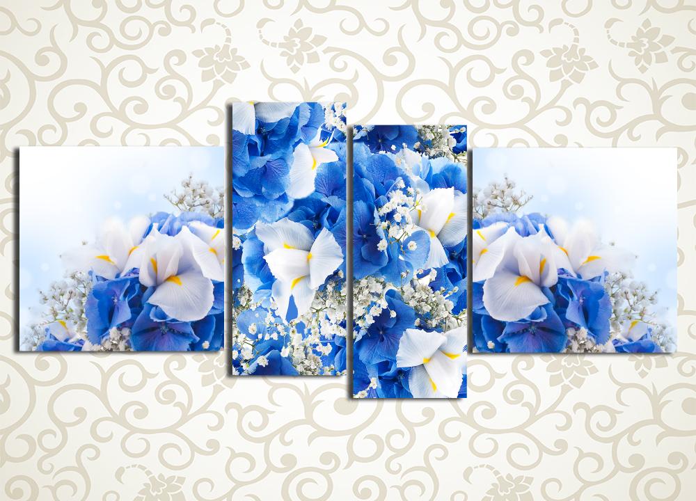 Модульная картина Букет голубых цветов