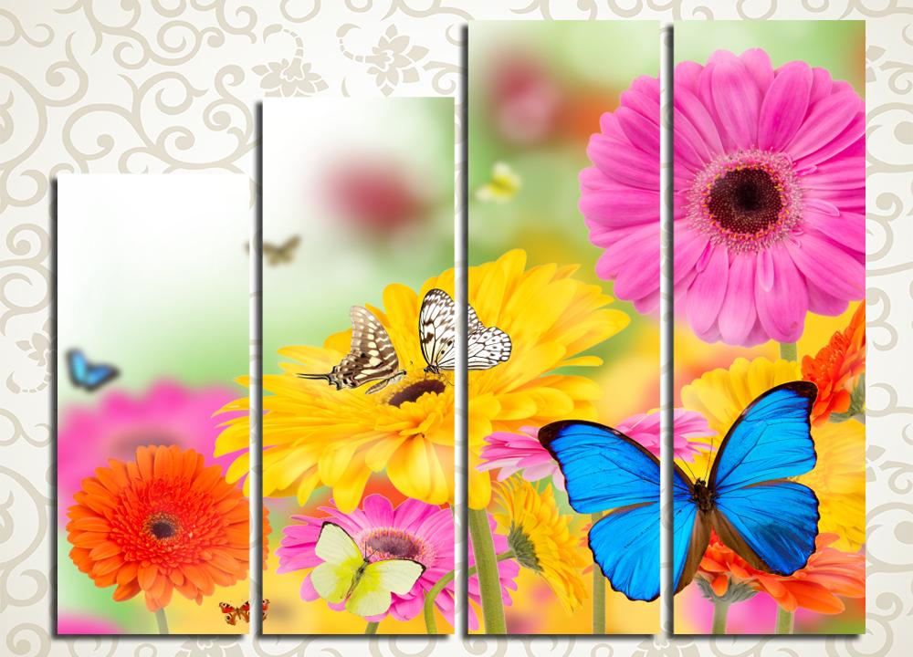 Модульная картина Бабочки на герберах