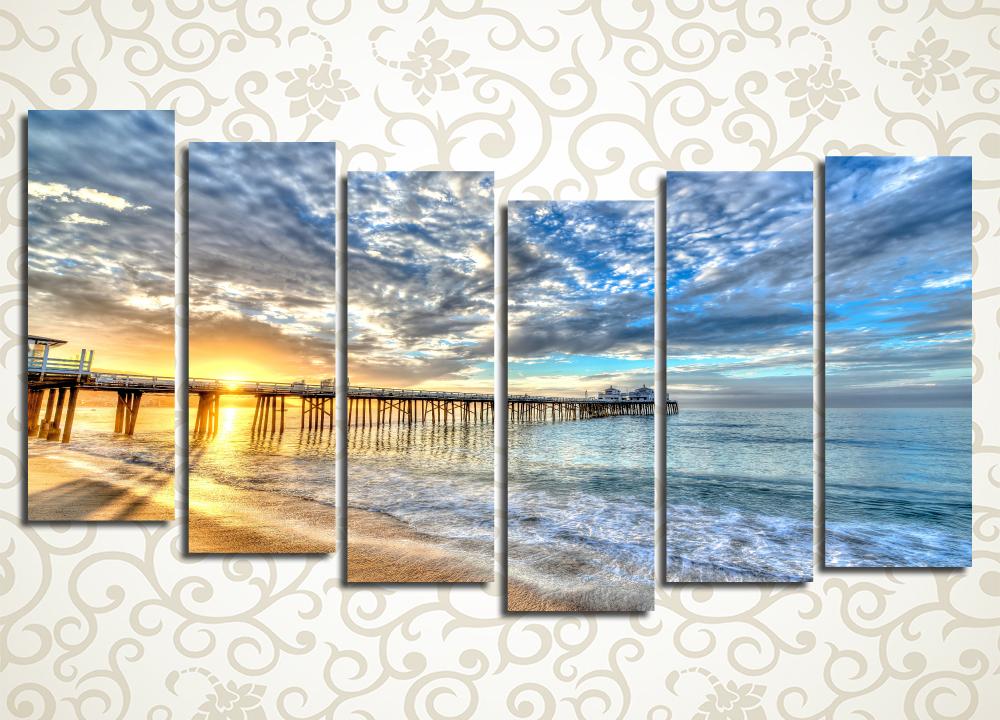Модульная картина Закат над морским причалом