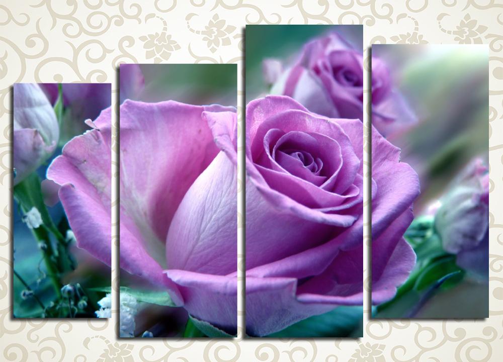Модульная картина Сиреневый бутон розы