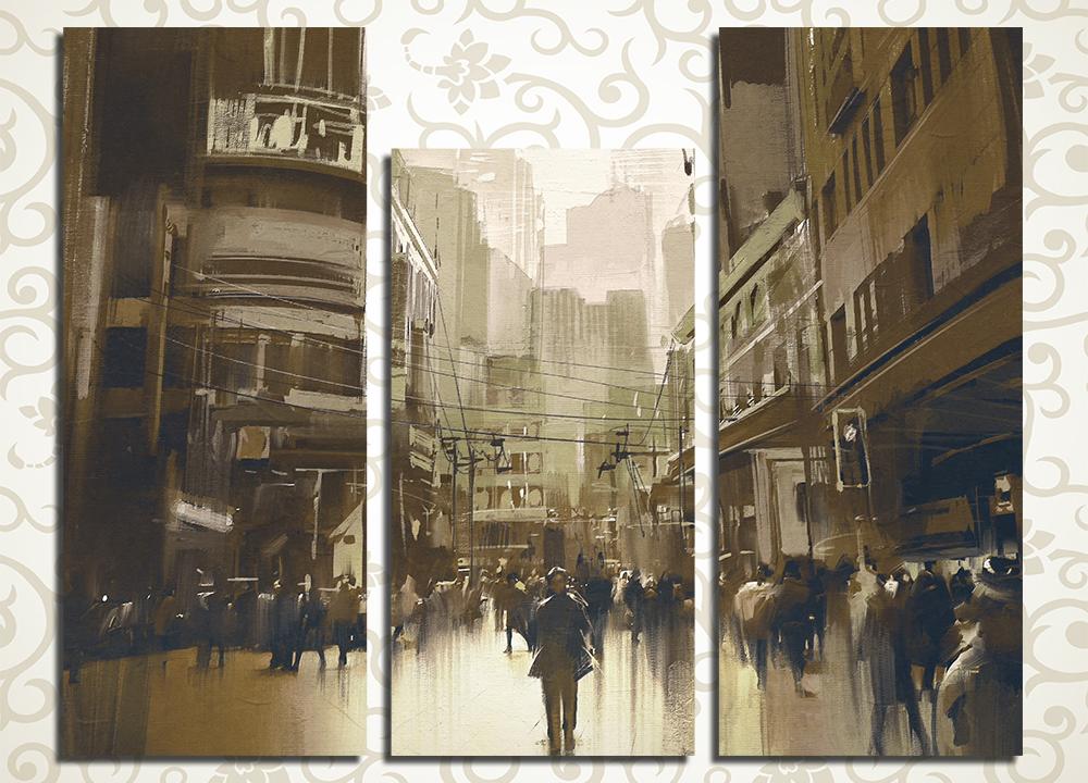 Модульная картина На улице города