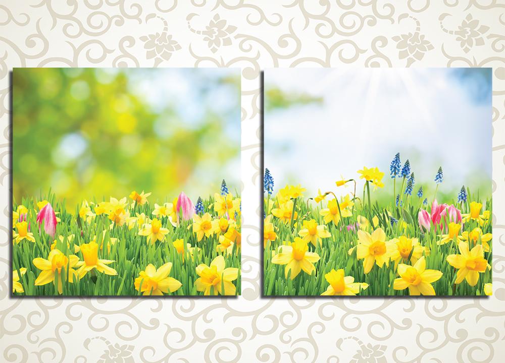 Модульная картина Поле желтых нарциссовЦветы и фрукты<br>Свежесть и легкость модульной картины «Поле желтых нарциссов» сделают вашу комнату светлой и уютной. Картина состоит из двух одинаковых полотен, выстраивающихся в горизонталь. Яркие цветы и фокус создают иллюзию присутствия: вы словно сейчас на этом поле наслаждаетесь запахом прекрасных нарциссов и тюльпанов. Качество изображения обеспечивается устойчивыми латексными красками.<br>