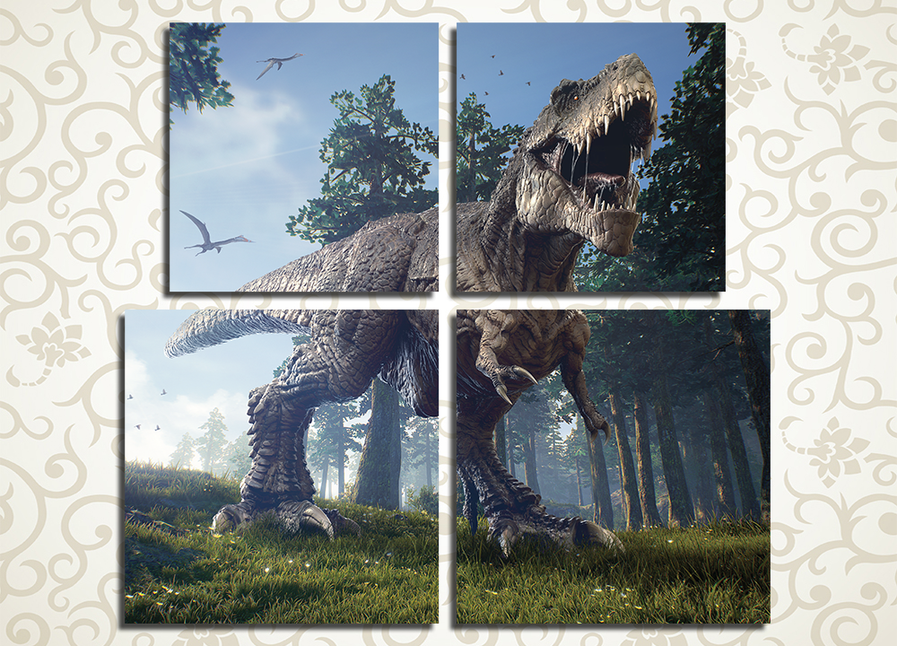 Модульная картина Злой тираннозавр