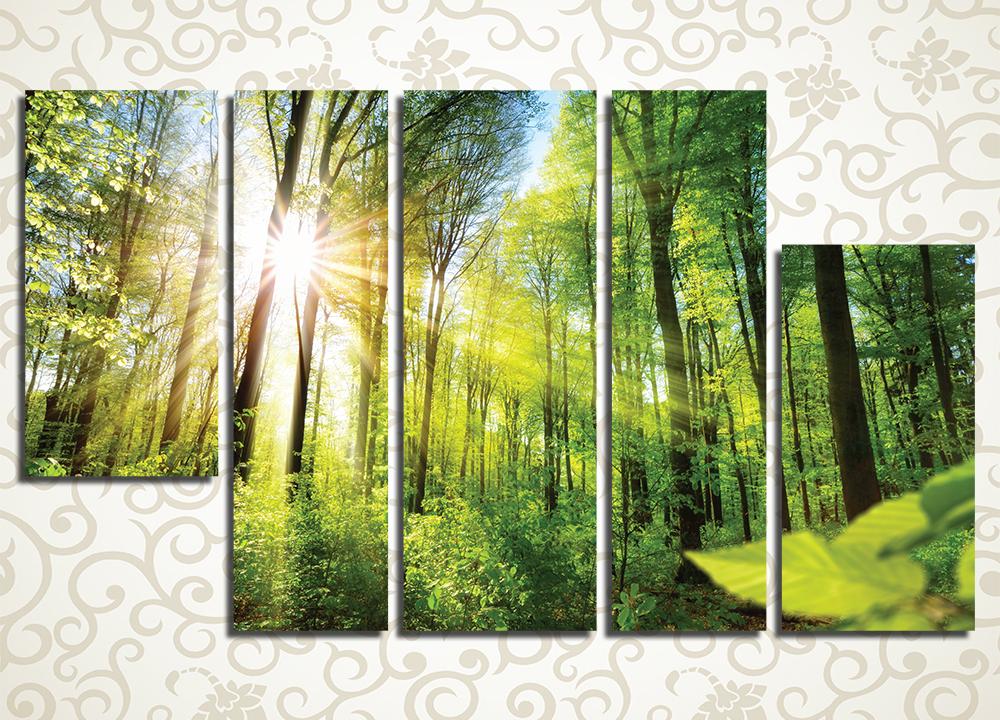 Модульная картина Рассвет в весеннем лесу