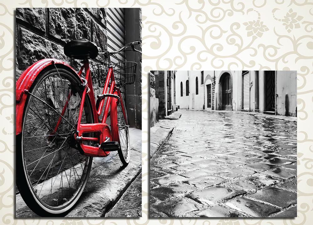 Модульная картина Велосипед на улочке старого города