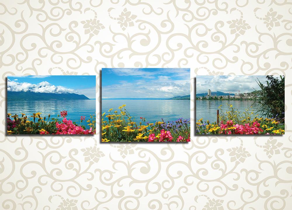 Модульная картина Цветы на берегу озера