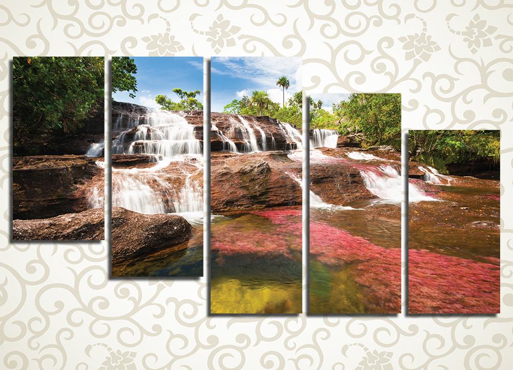 Модульная картина Водопад в джунглях