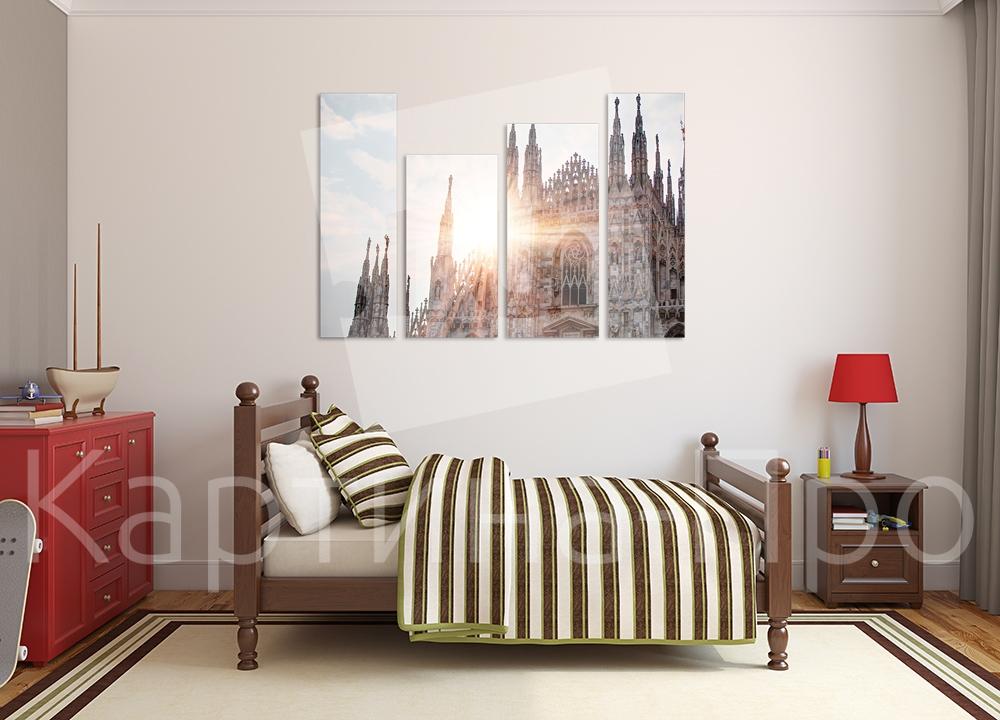 Модульная картина Рассвет над собором. Милан (Италия) от Kartina-Pro