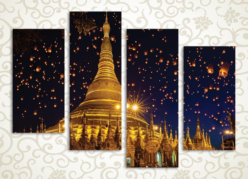 Модульная картина Огни над храмом. Мьянма (Бирма) от Kartina-Pro