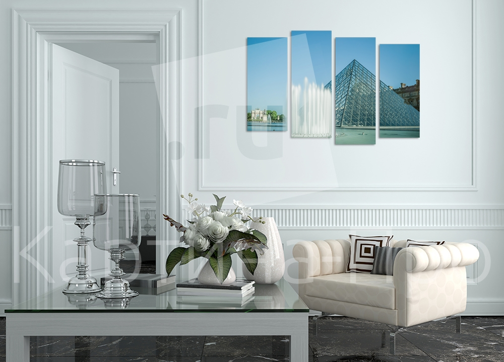 Модульная картина Фонтан у Лувра. Париж (Франция) от Kartina-Pro