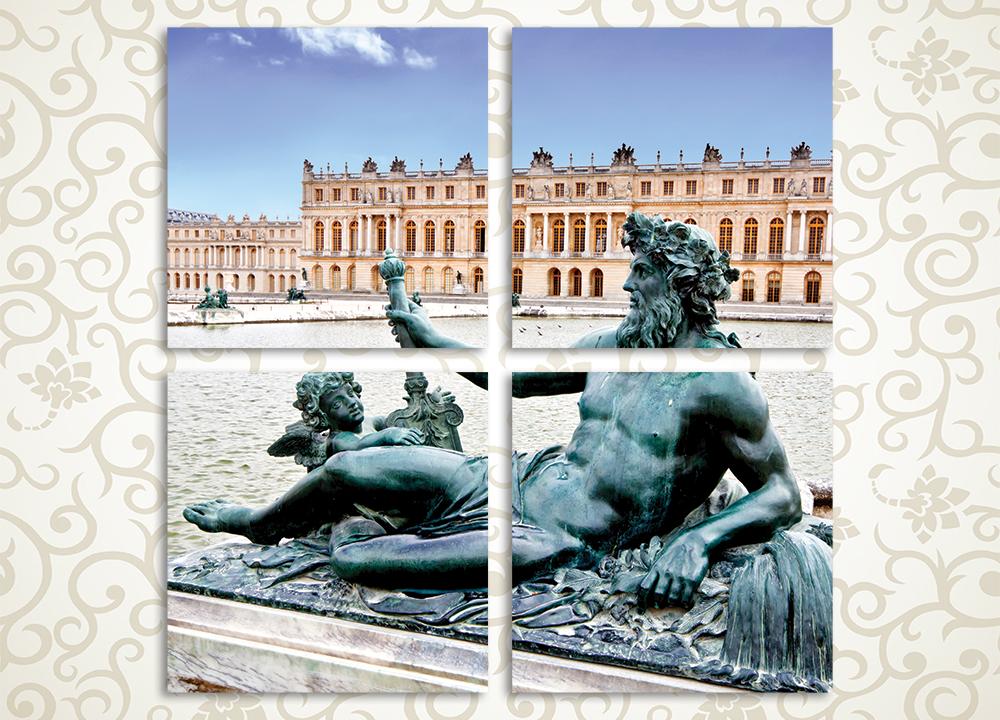 Модульная картина Статуя у Версальского дворца (Франция)Безликость и строгость любого современного интерьера можно разбавить красивым декором. Модульная картина «Статуя у Версальского Дворца» позволит не только создать дополнительные цветовые акценты в комнате, но и наслаждаться одним из красивейших городских пейзажей в мире. Светлую розовато-голубую гамму заднего фона уравновешивает темно-серая скульптура в стиле эпохи Возрождения. Композиция из 4 модулей может использоваться для декорирования офисных и коммерческих помещений, а также для гостиной, спальни, личного кабинета.<br>