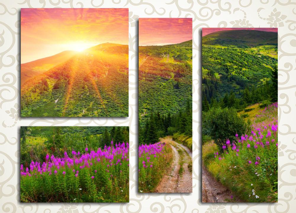 Модульная картина Восход солнца в Карпатах
