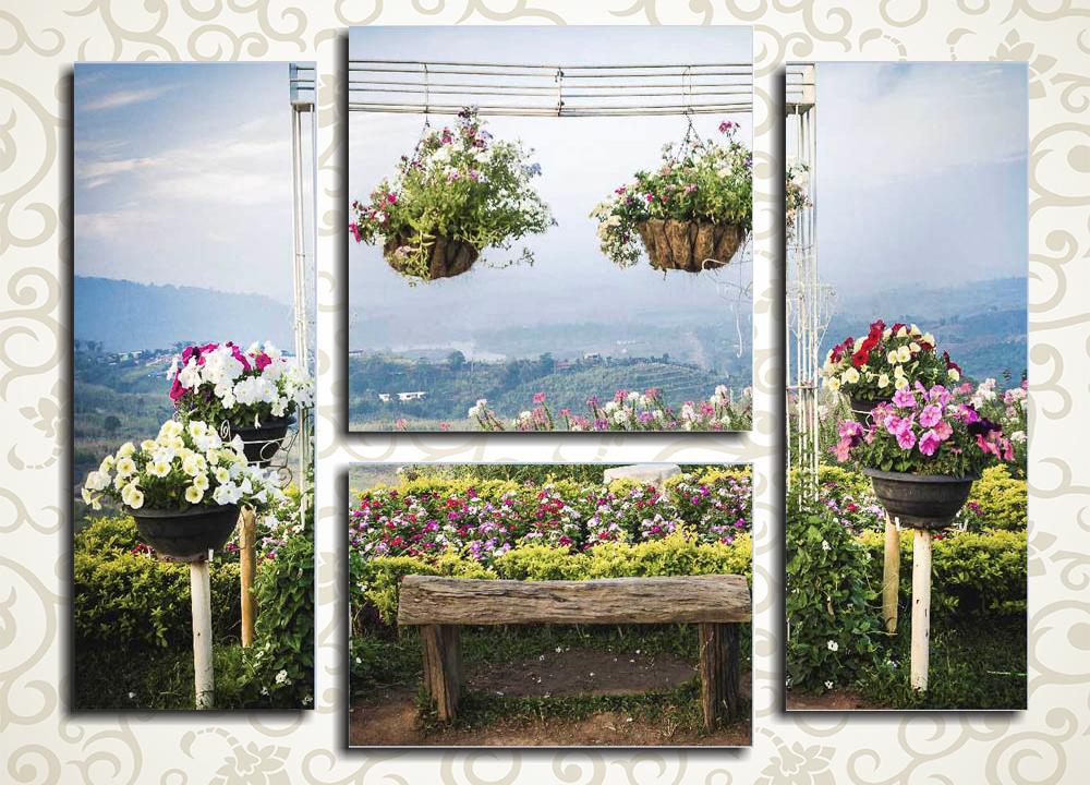 Модульная картина Цветы в саду