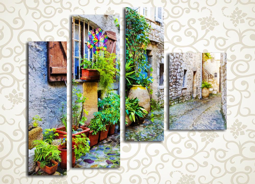 Модульная картина Цветы на улочке старого города