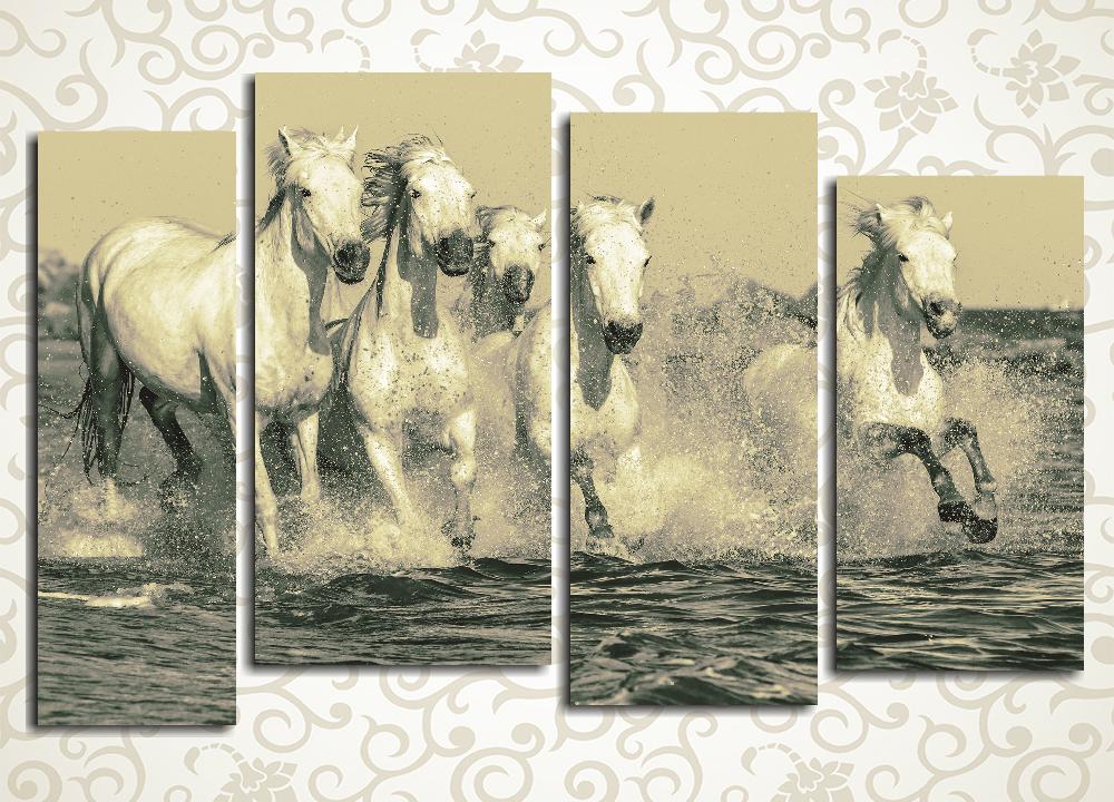 Модульная картина Белые лошадиОригинальная модульная картина «Белые лошади» – прекрасный образец лучших традиций классического фото. Анималистический сюжет черно-белого состаренного снимка ярко передает порывистость и грацию прекрасных животных. Композиция из 4 фрагментов гармонично впишется не только в современные интерьеры, но и в помещения, отделанные в стиле модерн или ретро. Она станет ярким акцентом гостиной или кабинета, детской или спальни. Благодаря сдержанной цветовой гамме ее можно использовать в офисах, барах, магазинах и салонах.<br>