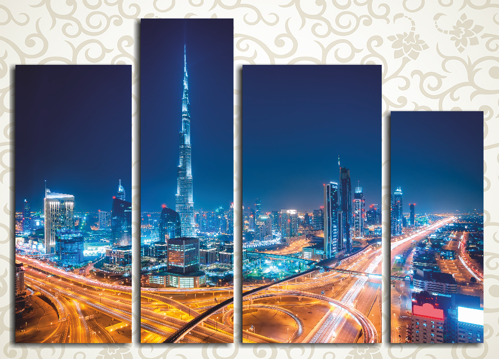 Модульная картина Ночной Дубай от Kartina-Pro