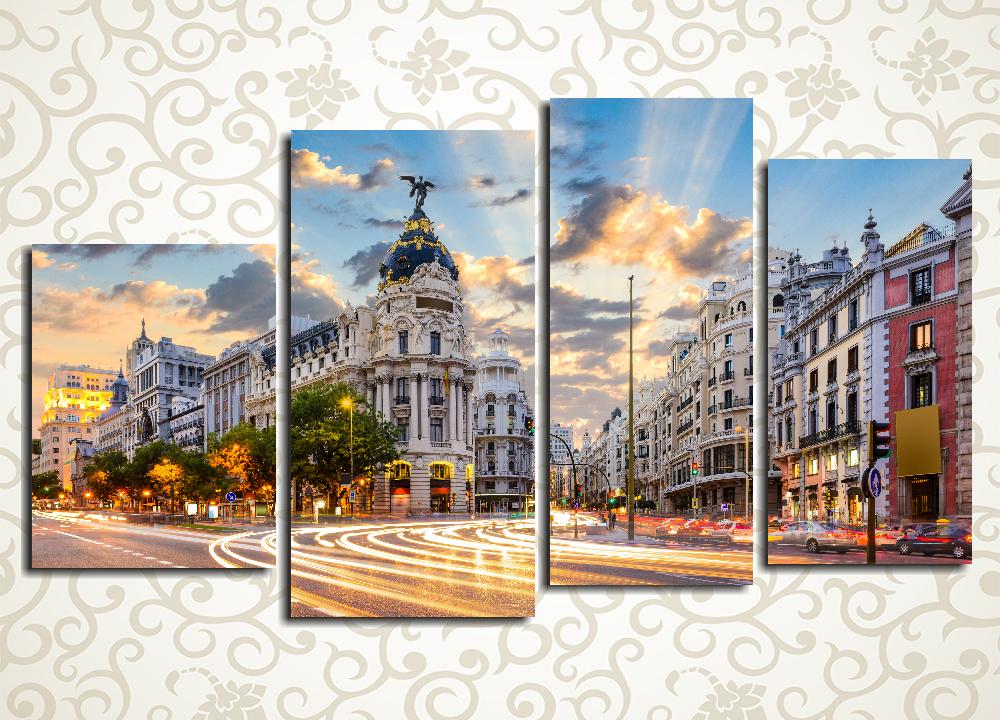 Модульная картина Рассвет над Мадридом (Испания)