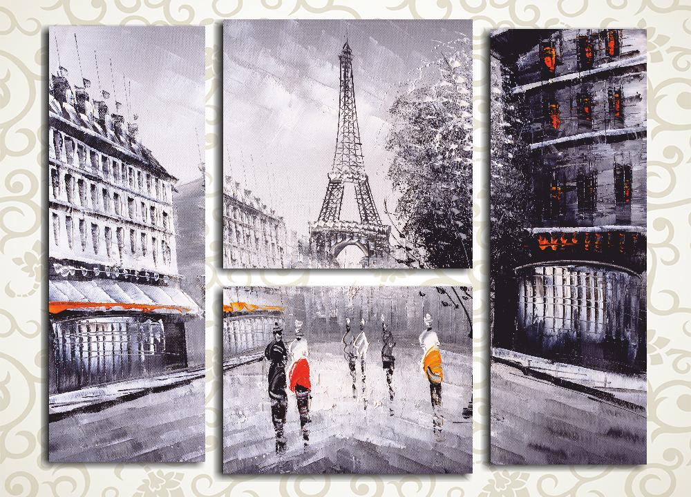 Модульная картина Нарисованный Париж (Франция)