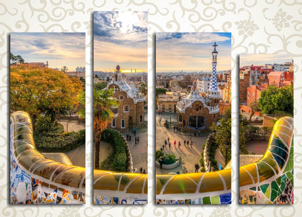 Модульная картина Рассвет над Барселоной (Испания)Изысканная модульная картина «Рассвет над Барселоной (Испания)» подарит вашему дому нотки специфического стиля прославленного зодчего Гауди, а также блекнущую зелень испанской осени. Этот пейзаж прекрасно подойдет к интерьеру зала, гостиной, холла, а также прихожей. Данное полотно состоит из 4 вертикальных модулей, каждый из которых тщательно собран под пристальным контролем качества и обтянут вручную. Холст обеспечивает максимально естественное восприятие изображения, а латексные краски не требуют защиты лаком и сохранят свежесть на много лет.<br>