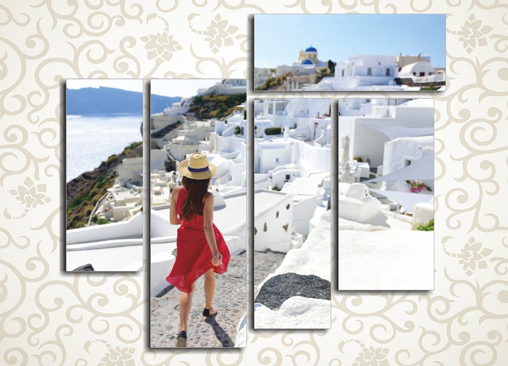 Модульная картина Прогулка по Санторини (Греция)