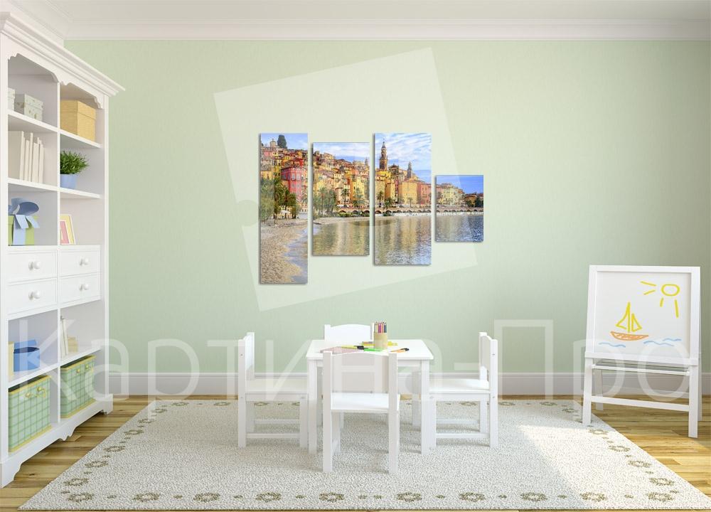 Модульная картина Пляж на закате от Kartina-Pro