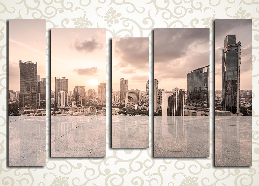 Модульная картина Бежевый закат над мегаполисом