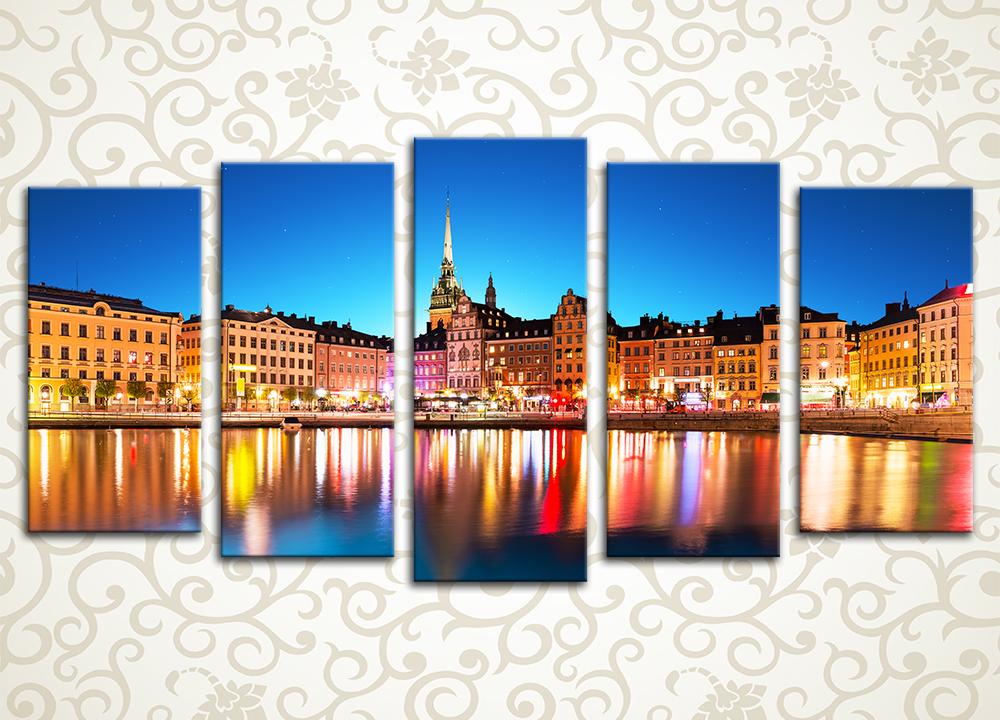 Модульная картина Город между мостами. Стокгольм (Швеция)