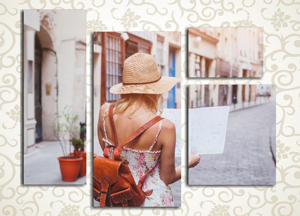 Модульная картина Девушка с картой от Kartina-Pro