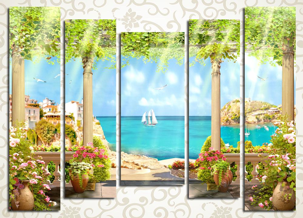 Модульная картина Терраса у теплого моря