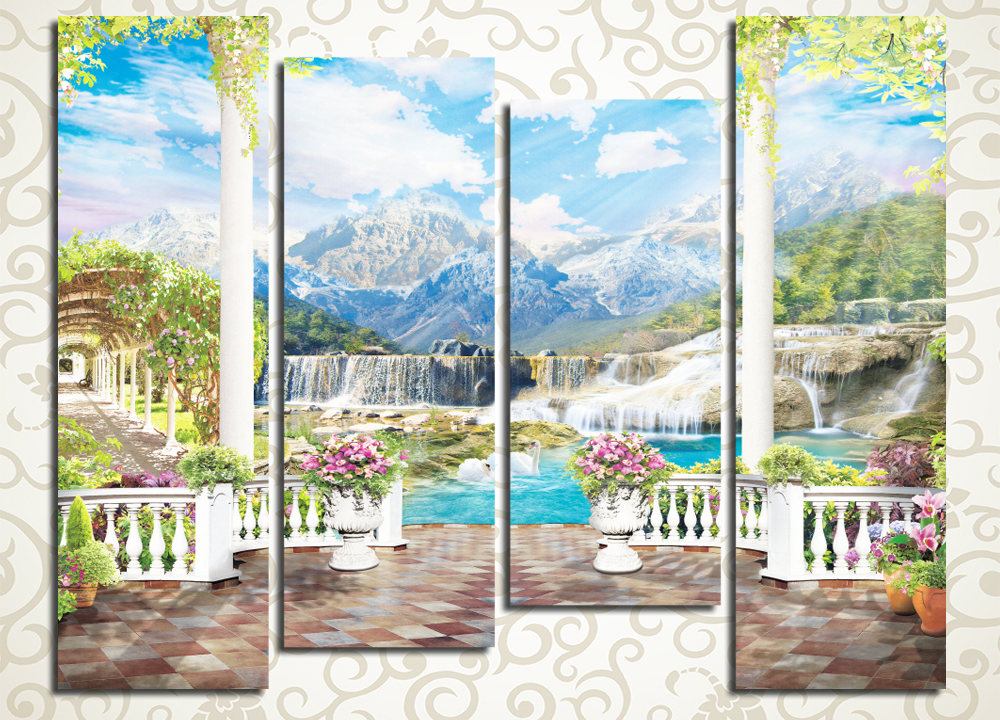 Модульная картина Терраса у водопада