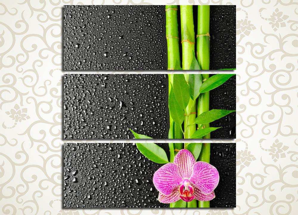 Модульная картина Орхидея на стеблях бамбука