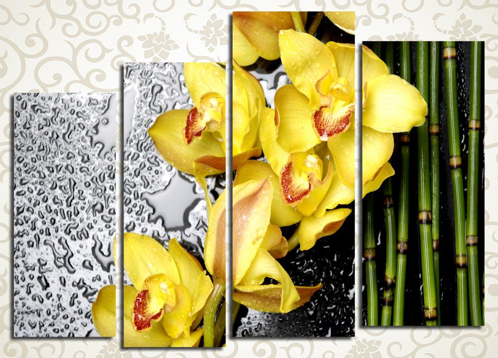 Модульная картина Ветка желтых орхидей