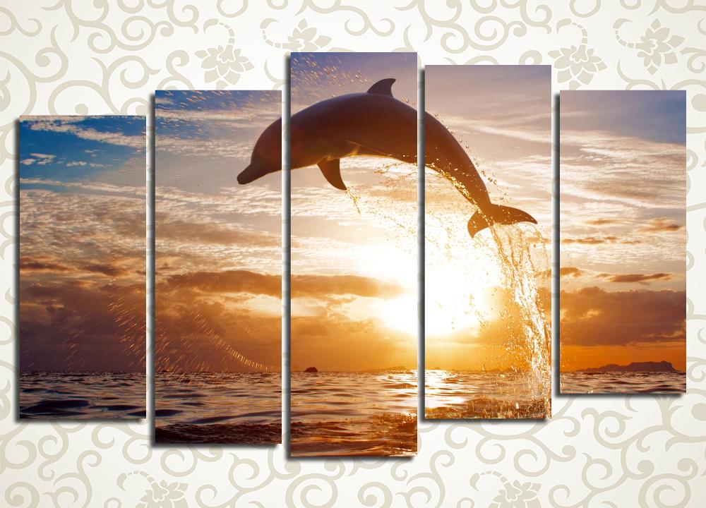 Модульная картина Дельфин на закате