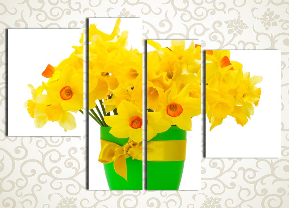 Модульная картина Ведро желтых нарциссовЦветы и фрукты<br><br>